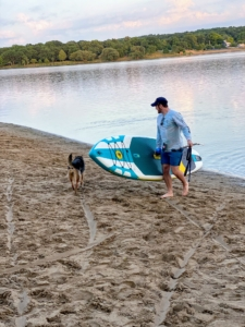 Once the two are on shore, it is very easy to carry the Navigator Plus Inflatable SUP out of the water. The entire board weighs 24-pounds.