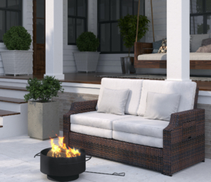For the backyard, order my Martha Stewart Bedford wood burning fire pit. Designed with style and function, this sleek 24-inch round black powder coated durable steel fire bowl features a steel grate to elevate logs and maximize air flow for a good sized fire, plus a steel poker and rounded handles for easy moving.
