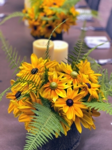 And on my birthday table, more bold yellow rudbeckia blooms are used as centerpieces. Rudbeckias are easy-to-grow perennials and include the popular black-eyed Susan.