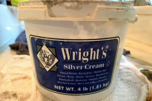 Wright's Silver Cream is a gentle all-purpose polish that works on all types of silver. It also works nicely on stainless steel and chrome and comes in a big tub.