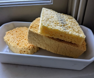 Whenever cleaning precious silver, we use soft moistened sponges. Made of all-natural material, these sponges are compressed to a thin rectangle for easy storage and then pop-up when wet. A soft cloth can also work well.