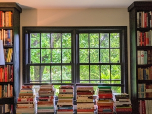 And to the adjacent cookbook library windows and doors.