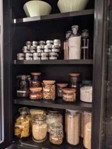 The cabinets are organized with spice tins and storage jars from my longtime partner, Macy's - and of course, they are all clearly labeled with each container's contents.
