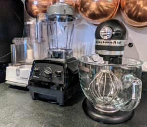 Other often-used kitchen appliances include the Cuisinart food processor, my Vitamix blender and a black Kitchen Aid stand mixer.