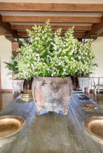 The Living Hall at Skylands is always used during summer months. This grand faux-bois cement table is where I like to display large flower arrangements for my parties. On this day, we had an arrangement of delicate lacecap hydrangeas. The lacecap is very similar to the mophead, but instead of growing round clusters of showy blossoms, this hydrangea grows flowers that resemble flat caps with frilly edges.