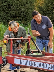 """A year ago, during a taping of an episode for my show, """"Martha Knows Best,"""" I helped Mauricio Guevara, a skilled lumberer, master woodworker, and restorer mill some of the wood on my farm. Mauricio is the owner of New England Antique Lumber Inc., in nearby Mount Kisco, New York and in Westport, Connecticut, and shares my passion for recycling and repurposing."""