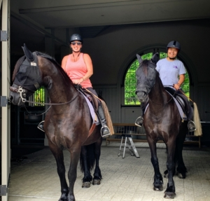 Here, Helen and Dolma head out for some exercise with Bond and Rinze before tending to the donkeys. Have a good ride!