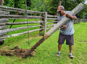See how deep these posts are in the ground - a good two to three feet.