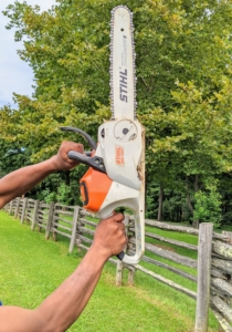 Pete uses our STIHL chainsaw. STIHL designed and built its first electric chain saw in 1926 and 94 years later, it is still one of its best pieces of equipment. This one is run on an AP 300 S Lithium-Ion Battery, which is powerful and compatible with a wide range of other STIHL tools.