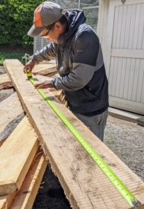 Pete measures the boards and cuts them down to a manageable stake size - This board will be used to make six foot stakes.