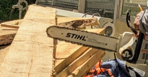 All STIHL chainsaws are also equipped with a chain stopping system designed to reduce the risk of injury. The STIHL chainsaw is also used to cut long boards before they're made into stakes.