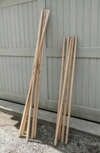 Pete made two different sizes - six foot and five foot stakes, allowing extra for the amount of wood that would be buried into the ground.