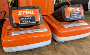 The AP 300 S Lithium-Ion Battery from STIHL is powerful and compatible with a wide range of tools, including extended-reach hedge trimmers, pole pruners, chainsaws, and blowers. It weighs only 3.9 pounds and is water resistant.