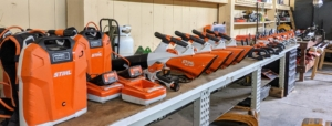 We keep all our STIHL tools in my large Equipment Barn. Here, they are all organized on our shop table and ready-to-use.