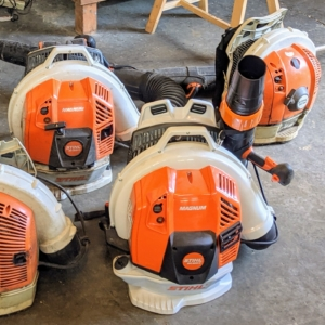 And here are their leaf blowers. We've been using STIHL's backpack blowers for years here at my farm. These blowers are powerful and fuel-efficient. The gasoline-powered engines provide enough rugged power to tackle heavy debris while delivering much lower emissions.