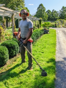 Domi uses STIHL's brush cutter to whack any extraneous weeds around the pergola beds. These heavy-duty cutters have a four-point anti-vibration system that helps reduce operator fatigue and an easy-adjust handle bar for easy maneuverability, transport, and storage.