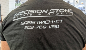 Carlos, Jerry, and Benicio from Precision Stone, Marble & Granite, came to repair the marble with a special stone epoxy.