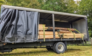 Any logs too big to be cut at the farm went to another facility. And last week, Mauricio delivered large truck loads of cut wood.