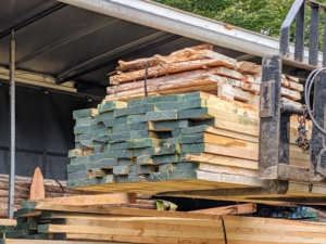 They brought back ash, yew, and pine lumber - all from felled trees here at the farm. The wood was cut into boards and then dried in an oven. Ash is used for furniture, flooring, doors, cabinetry, architectural moulding and millwork, tool handles, baseball bats, hockey sticks, oars, turnings, and is also sliced for veneer.