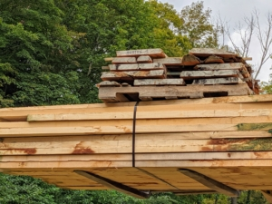 The Yew tree is a hard, relatively heavy softwood. Yew wood, seen here at the top of the pile, can be used for veneers, cabinetry, furniture, carvings, and even archery bows.