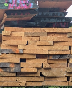 Whenever storing lumber, be sure to keep the wood elevated, level, and well stacked. It should also be kept as dry as possible and free of damaging insects.
