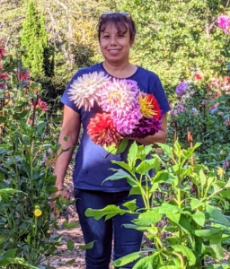 Experiment with the varieties – dahlias look great arranged in different colors. Look at all the pretty blooms.