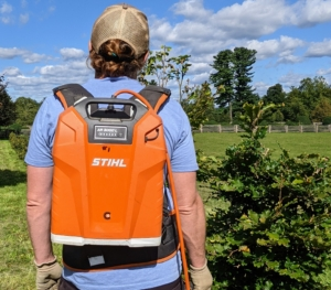 The STIHL backpack battery eliminates the cost of fuel and engine oil and can be used for several hours before needing another charge. It's very handy and very popular here at the farm.