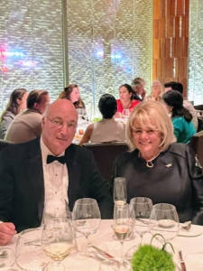 Here's a lovely photo of my friends, Steve Gerard and his wife, and my banker, Jane Heller.