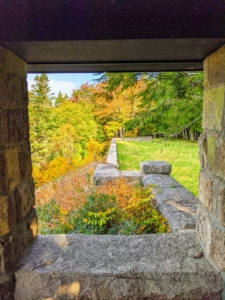 Cheryl took this photo from the charming Ox Ledge gazebo looking out one of its windows. The gazebo opens to this beautiful large flat garden surrounded by majestic trees.