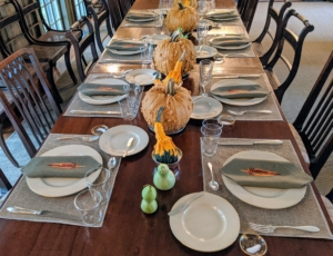 I love using this room for both big and small gatherings. The table can seat up to 18-guests. For breakfast, we were only eight, but just right for a good discussion.