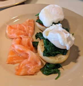 The smoked salmon, spinach, and poached eggs are plated on my beautiful Drabware dishes.