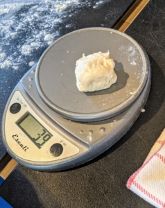 Chef Pierre makes each one between 39 and 40 grams - the perfect size for holding the poached eggs.